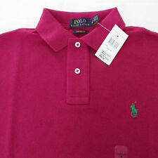 NWT Ralph Lauren Pink Magenta Cotton Mesh Short Sleeve Custom Fit Polo Shirt