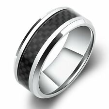 8mm White Titanium Ring with Black Carbon Fiber Check Pattern Inlay Polished