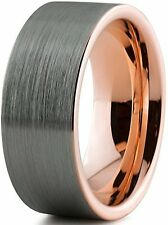 Tungsten Wedding Band Ring 9mm for Men Women Comfort Fit 18K Rose Gold Plated P