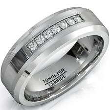 8mm Tungsten Carbide Ring with Brilliant CZ Mens Wedding Band 413