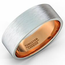 Mens Wedding Band Two Tone Tungsten Ring 8mm Brushed Matte Rose Gold Inside Fla