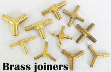 Brass Straight X Y Tee 3 Way Barbed Hose Joiner Connectors AIR GAS OIL  LPG