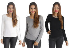 AJOY WHITE, GREY & BLACK BASIC LAYERING LONG SLEEVE TOP. SIZE S,M,L,XL.