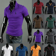 New Mens Stylish Casual Slim Fit T-shirt Short Sleeve Polo Shirts Basic Tee Tops