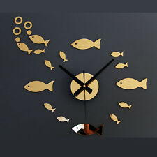 Mirror DIY Wall Clock DIY Fish Hypothenar Stickers Watch Home Decor Novelty Gift