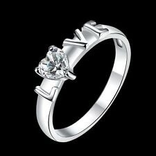 925 Silver Plated Womens Wedding Heart Crystal & LOVE Band Ring Jewelry