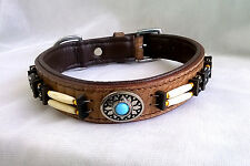 Pstore Quality Leather dog Collar  Padded with Brass Fitting LDC-109