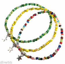 ANKLET Small STAR CHARM Glass Seed Beads on Elastic - 9 Colour Choices 5 Sizes