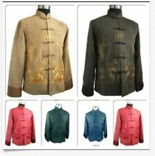 Fashion Chinese Men's Kung Fu Jacket Coat Dress Embroidery Dragon Size M-XXXL