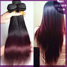 1B/#99J Ombre Remy Brazilian Human Hair Extensions Two Tones Straight Hair Weave