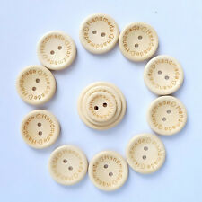 50PCS Sewing Round Love Butterfly Buttons Wooden 2 Holes Handmade DIY