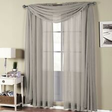 Abri Grey Rod Pocket Crushed Sheer Curtain Panel - All Sizes