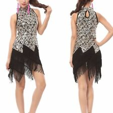 1920's Flapper Dress Party Sexy Gatsby Sequin Tassel Black Gold Fringe DRESS