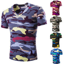 Casual Mens Camouflage Camo Military Army Short Sleeve Shirt Crew Neck T-Shirt