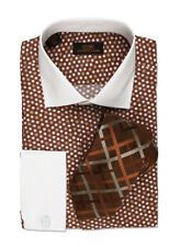 Dress Shirt by Steven Land Spread Collar  Rounded French Cuff-Brown-DW534-BR