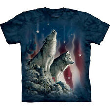 FALLING STARS Wolf T-Shirt The Mountain American Flag Howling Wolves S-3XL NEW