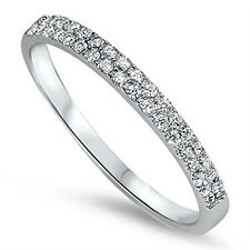 Sterling Silver .925 2 Row CZ Women's Eternity Wedding Band Ring Size 4-10