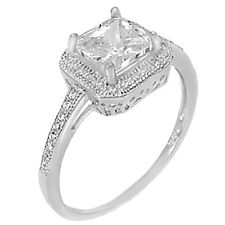 Sterling Silver .925 CZ Princess Cut Halo Women's Engagement Wedding Ring 5-10