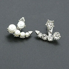 Women Girls Pearl Rhinestone Crystal Asymmetric Ear Studs Earrings