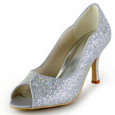 EP2079 Silver Peep Toe Stiletto Heel Sequin Party Wedding Bridal Pumps Shoes