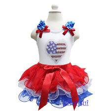 Girls Red White Blue Petal Tutu 4th July Patriotic Rhinestone USA Flag