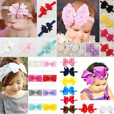 Lot Newborn Girls Kids Baby Toddler Infant Lace Bow Headband Band Headwear New