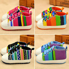 Infant Toddler Baby Kid Pram Trainers Rainbow Stripe Crib Shoes Boy Girl Sneaker