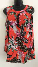 New DP Orange Black Floral Print Summer Holiday Tunic Top Blouse Casual Formal
