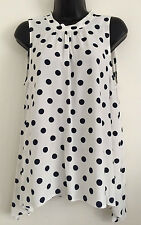NEW LOOK Size 12-20 White Polka Dot Circle Monochrome Summer Tunic Top Blouse