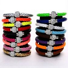 New Leather Wrap Wristband Cuff Punk Magnetic Rhinestone Buckle Bracelet Bangle