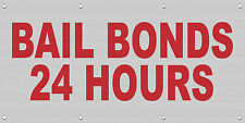 Bail Bonds 24 Hours Red MESH Windproof Fence Banner Sign