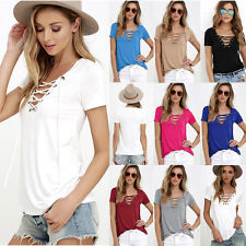 New Womens Loose Pullover T Shirt Short Sleeve Cotton Tops Ladies Shirt Blouse g
