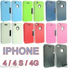 For Apple IPhone 4 4S Leather Flip Smart Case Wallet Pouch Cover Slim Four 4G