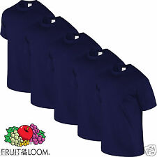 4 Mens Fruit of the Loom Plain Navy Cotton Tshirt T Shirt Blank 100% Cotton