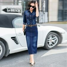 New Women Fashion Casual Washed Jean Skirt Long Sleeve Denim Dress+Belt