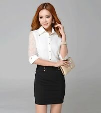 Hot Sexy Womens Chiffon Tops Slim OL Professional Blouses Lace Shirt AAA+ Edgy