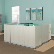 MODERN L-SHAPED RECEPTION DESK White Receptionist Station Waiting Room Salon NEW