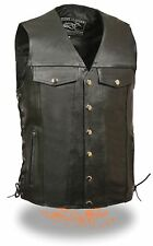 "Men's Promotional Grade Black Leather ""Denim Style Pockets"" Biker Vest Side Lace"
