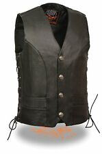 Men's Naked Cowhide Vest w/ Side Lace, Buffalo Nickel Snaps & Inside Gun Pockets