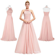 Pink Satin Long Formal Bridesmaid Prom Dress Wedding Party Cocktail Evening Gown