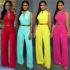 Women's Sexy Casual Single Breasted High Waist Belted Wide Leg Jumpsuits Rompers