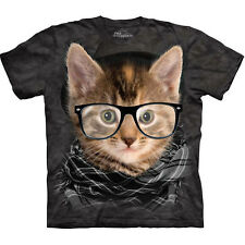 HIPSTER KITTEN The Mountain Funny Nerdy Cat Face With Glasses T-Shirt S-3XL NEW