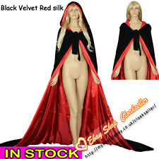 Stock Lined Black/Red Velvet Hooded Cloak Cape Wedding Wicca Gothic Halloween