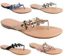 LADIES FLAT HEEL THONG DIAMANTE STRAP PARTY BRIDAL SANDALS BEACH MULES SLIPPERS