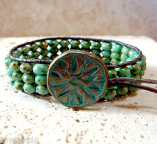 Green Turquoise Czech Picasso Handmade Beaded Leather Single Wrap Bracelet No.2