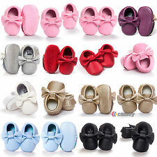Baby Prewalker Moccasin Soft Sole Crib Shoes Infant Boy Girl Toddler 0-18 M