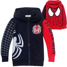 Boys Kids Spiderman Zipper Clothes Girls Sweatshirt Hoodies Jacket Coats Costume