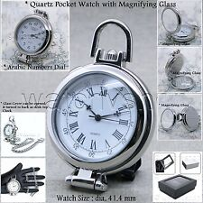 SILVER Mens MAGNIFYING GLASS cover Quartz Pocket Watch Fob Chain Gift Box P123A