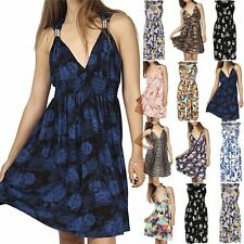 Womens Ladies V Neck Floral Print Spring Coil Greek Jersey Short Midi Dress 8-22