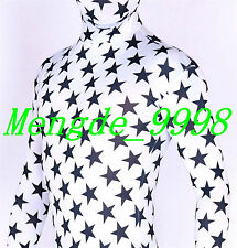 NEW HALLOWEEN COSPLAY SUIT WHITE/BLACK STAR FULL BODY SUIT CATSUIT COSTUMES C172
